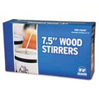"Wood Coffee Stirrers, 7 1/2"" Long, Woodgrain, 500 Stirrers/Box, 500/Box RPPR825BX"