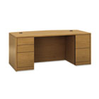 10500 Bow Front Double Pedestal Desk, Full-Height Pedestals, 72w x 36d, Harvest HON105899CC