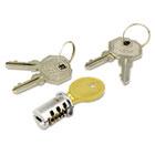 Lock Core For Metal Mobile Pedestals, Chrome, Set ALEKC501111