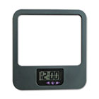 Recycled Plastic Cubicle Mirror with Digital Clock, Charcoal UNV08169