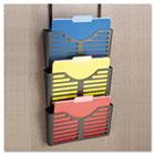 Recycled Plastic Cubicle Triple File Pocket, Black UNV08163
