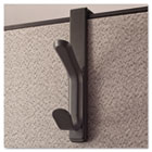 Recycled Cubicle Double Coat Hook, Plastic, Charcoal UNV08607