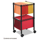 Two-Tier Compact Mobile Wire File Cart, Steel, 15-1/2w x 14d x 27-1/2h, Black SAF5221BL
