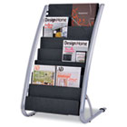 Literature Floor Display Rack, Eight Pocket, 22.2w x 18.4d x 36h, Black/Steel ABADDEXPO8