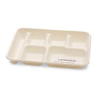 Sugarcane-Fiber Food Trays, 6-Comp, White, 125/Pack, 2 Packs/Carton SVAT011