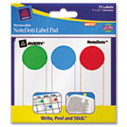 NoteDots Label Pad, 1 x 2-1/2, Removable Self-Adhesive, Assorted, 75/Pack AVE45295