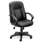 VL601 Series Leather Mid-Back Swivel/Tilt Chair, Metal, 26 x 33-1/2 x 43, Black BSXVL601ST11