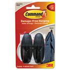 Designer Hooks, Plastic, Black, 2 Hooks & 4 Strips/Pack MMM17081BLK