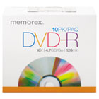 DVD-R Discs, 4.7GB, 16x, w/Slim Jewel Case, Silver, 10/Pack MEM05669