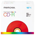 CD-R Discs, 700MB/80min, 52x, Slim Jewel Cases, Cool Colors, 10/Pk MEM04601