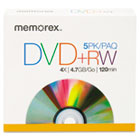DVD+RW Discs, 4.7GB, 5/Pack MEM05514