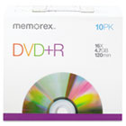 DVD+R Discs, 4.7GB, 16x, w/Slim Jewel Cases, Silver, 10/Pack MEM05656