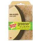 Greener Clean Non-Scratch Scour Pad, 4 x 6, Natural, 2/Pack MMM97223