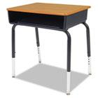 Open Front Student Desk, 24w x 18d, Medium Oak Top, 2/Carton VIR785084