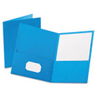 Twin-Pocket Folder, Embossed Leather Grain Paper, Light Blue ESS57501