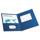 Twin-Pocket Folder, Embossed Leather Grain Paper, Blue ESS57502