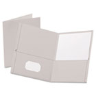 Twin-Pocket Folder, Embossed Leather Grain Paper, Gray ESS57505