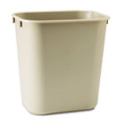 Deskside Plastic Wastebasket, Rectangular, 3.5gal, Beige RCP295500BG