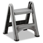2-Step Folding Plastic Step Stool, 300lb Cap, Dark Gray RCP420903CYLND