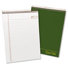 Gold Fibre Wirebound Writing Pad w/Cover, Letter, White, Green Cover, 70 Sheets TOP20811