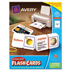 Printable Flash Cards, Notched Cards w/Band, 3 x 5, White, 4 Cards/Sheet, 100/PK AVE04752