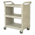 Utility Cart, 300-lb Cap, Three-Shelf, 32w x 18d x 37-1/2h, Platinum RCP335588PLA