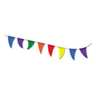 Strung Flags, Pennant, 30', Assorted Bright Colors COS098182