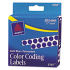 Permanent Self-Adhesive Color-Coding Labels, 1/4in dia, Dark Blue, 450/Pack AVE05793