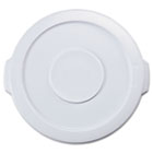 """Round Flat Top Lid, for 10-Gallon Round Brute Containers, 16"""", dia., White RCP2609WHI"""