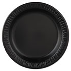"Plastic Dinnerware, Plate, 9"" dia, Black, 125/Pack, 4 Packs/Carton DRC9PBQR"