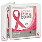 "Breast Cancer Awareness View Binder, 1"" Capacity, White SAM10050"