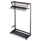 Single-Side, Garment Rack w/Two Shelves, Eight Hangers, Steel, Black QRT20222