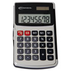 Handheld Calculator, Hard Flip Case, 8-Digit LCD, Dual Power, Silver IVR15920