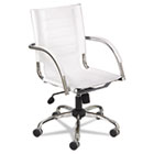 Flaunt Series Mid-Back Manager's Chair, White Leather/Chrome SAF3456WH
