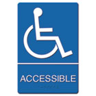 ADA Sign Wheelchair Accessible, Tactile Symbol/Braille, Plastic, 6x9, Blue/White USS4725