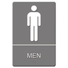 ADA Sign, Men Restroom Symbol w/Tactile Graphic, Molded Plastic, 6 x 9, Gray USS4817