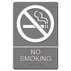 ADA Sign, No Smoking Symbol w/Tactile Graphic, Molded Plastic, 6 x 9, Gray USS4813