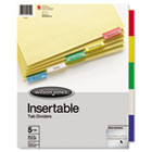Single-Sided Reinforced Insertable Index, Multicolor 5-Tab, Letter, Buff, 5/Set WLJ54309
