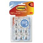 Clear Hooks & Strips, Plastic/Wire, Small, 9 Hooks w/12 Adhesive Strips per Pack MMM17067CLRVP