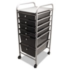 Portable Drawer Organizer, 15-1/2w x 13d x 32h, Smoke/Chrome AVT34005