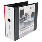 "Economy D-Ring Vinyl View Binder, 5"" Capacity, Black UNV20998"