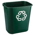 Deskside Paper Recycling Container, Rectangular, Plastic, 7 gal, Green RCP295606GRE