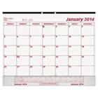 Monthly Desk Pad Calendar, 22 x 17, 2015, White/Maroon REDC1731V