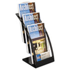 Three-Tier Leaflet Holder, 6-3/4w x 6-15/16d x 13-5/16h, Black DEF693604