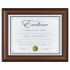 "Prestige Document Frame, Walnut/Black, Gold Accents, Certificate, 8 1/2 x 11"" DAXN3028N1T"
