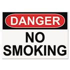 OSHA Safety Signs, DANGER NO SMOKING, White/Red/Black, 10 x 14 USS5484