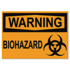 OSHA Safety Signs, WARNING BIOHAZARD, Orange/Black, 10 x 14 USS5498
