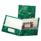 Marble Design Laminated High Gloss Twin Pocket Folder, Emerald Green, 25/box ESS51617