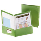 Two-Pocket Laminated Folder, 100-Sheet Capacity, Metallic Green ESS5049560