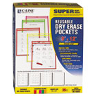 Reusable Dry Erase Pockets, 9 x 12, Assorted Neon Colors, 25/Box CLI40820